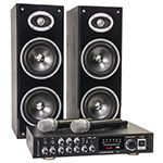 SET KARAOKE AMPLIFICATOR + BOXE + MICROFOANE WIRELESS