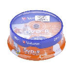 DVD-R VERBATIM 4,7 GB 16X PRINT. FULL FACE CAKE 25BUC