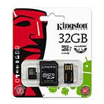 MICROSD CARD 32GB CLASS 4 ADAPTOR USB KINGSTON