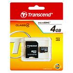 MICRO SD CARD 4GB CU ADAPTOR TRANSCEND