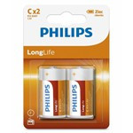BATERIE LONGLIFE R14 C BLISTER 2 BUC PHILIPS