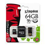 MICROSD CARD 64GB CLASS 4 ADAPTOR USB KINGSTO
